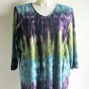 Maggie Barnes Blouse Size 2X Blue Green Purple